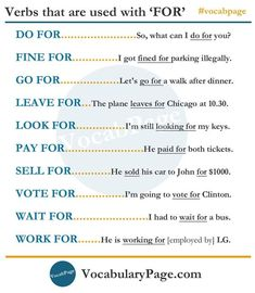 Verbs used with 'FOR' #learnenglish