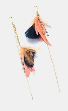 Statement Gold Dangle Feather Earrings Navy & Shrimp
