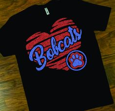 School Spirit Bobcats Tee, Bobcats Heart with Paw Glitter Tee, Bobcats Tee, Custom Glitter School Spirit T-Shirt by shopMKD on Etsy School Spirit Wear, School Spirit Shirts, School Shirts, Teacher Shirts, Dance Team Shirts, School Shirt Designs, Heart Shirt, Shirt Embroidery, Tee Design