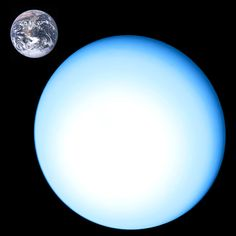 Uranus Compared to Earth. Image credit: NASA. The core of Uranus has a temperature of 5000 degrees Kelvin. Yet the surface of the planet is close to -200 Celcius. It is presently not understood why there is such a large difference.