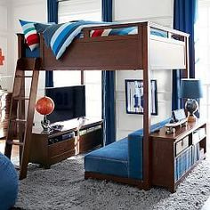Hampton Loft Cushy Loveseat wish that was my room Bunk Beds With Stairs, Kids Bunk Beds, Loft Bed With Couch, Loft Bunk Beds, Boys Bunk Bed Room Ideas, Boys Bedroom Ideas Tween, Diy Bunkbeds, Loft Beds For Teens, Cool Beds For Kids