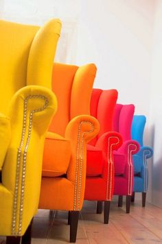 Yellow Orange Red Faux Leather Upholstery on Wingback chairs