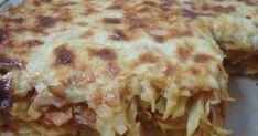 (Εναλλακτικά, γίνεται και με ό,τι ζυμαρικό θέλουμε, πάντως καλύτερα να είναι ένα πλακέ, όπως χυλοπίτες, λαζανάκι ή λιγκουίνι.)  Υλικά γ... Pasta Recipies, Crepes, Lasagna, Ethnic Recipes, Food, Lasagne, Meals, Pancake, Yemek