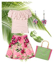 """""""Tropical Floral Summer Outfit with Glass Hydrangea Drop Earrings"""" by patsyevins ❤ liked on Polyvore featuring Love Moschino, Hollister Co., Sonia Rykiel and Magid"""