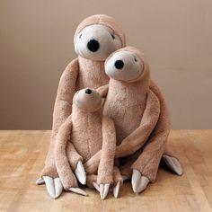 Grey Big Sloth stuffed animal toy for children por andreavida