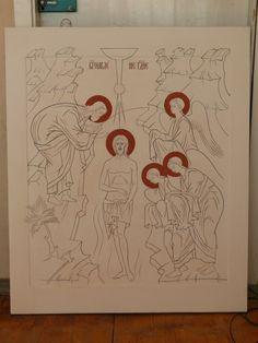 The tracing of the icons (the icon-painting studio, SVETLYE LIKI, Ukraina, Kiev) Byzantine Icons, Byzantine Art, Baptism Of Christ, Paint Icon, Religious Images, Painting Studio, Catholic Art, Orthodox Icons, Christian Art