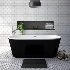 Free standing bath tub Windsor Brooklyn Black 1690 x Double Ended Freestanding Bath Wedding Dr Black Bathtub, Black Tub, Loft Bathroom, Bathroom Renos, Bathroom Ideas, Modern Bathroom Design, Bathroom Interior Design, Freestanding Bath Taps, Double Bath