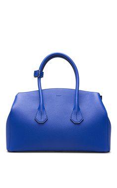 Medium Leather Tote Bag In True Blue - Bally Resort 2016 - Preorder now on Moda Operandi