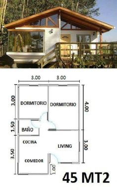 Casa modelo My House 2 Bedroom House Plans, Cabin House Plans, Tiny House Cabin, Small House Plans, House Floor Plans, Bamboo House, Cabins And Cottages, Small House Design, House Layouts