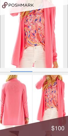 Lilly Pulitzer Wells Open Front Cashmere Cardigan BNWT. 100% cashmere. Flamingo pink. Lilly Pulitzer Sweaters Cardigans