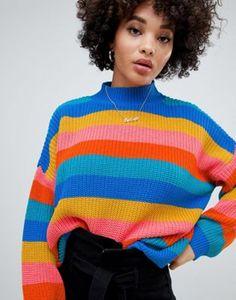 3357e679e6 Missguided high neck sweater in rainbow stripe