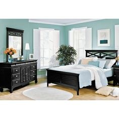 American Signature Furniture - Plantation Cove Black Bedroom 5 Pc. Queen Bedroom $1,299.99