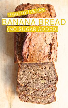This healthy vegan banana bread is sweetened naturally with dates and bananas for a delicious, moist, and healthy morning or midday sweet bread. No sugar added! #vegan #bananabread #nosugaradded #banana