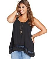 American Rag Plus Size Sleeveless Lace-Inset Top