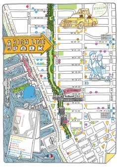HIGH LINE maps and spots by Aaron Meshon, via Behance