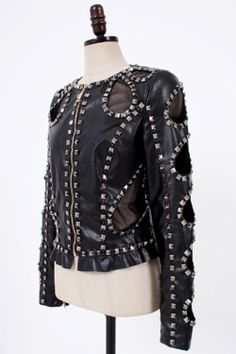 embellished leather jacket | Stud embellished mesh patch black leather biker jacket