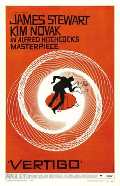 VERTIGO, by Saul Bass, 1958 Master of the title sequence and much-imitated graphic designer Saul Bass is almost a household name when it comes to his movie posters, which capture that sexy and mysterious Mad Men era with lots of color-blocked orange, yellow, and red. The hypnotizing spiral of Vertigo's poster is nothing short of iconic.