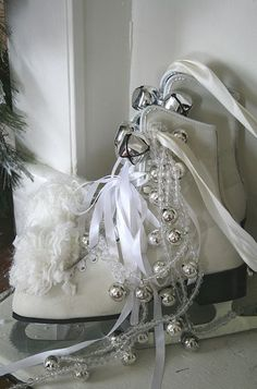 Dressed ice skates (from The Elegant Chateau).  I certainly have skates laying around. . . . . .
