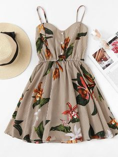Shop Striped Floral Print Shirred Back Cami Dress online. ROMWE offers Striped Floral Print Shirred Back Cami Dress & more to fit your fashionable needs. Mode Outfits, Trendy Outfits, Summer Outfits, Fashion Outfits, Travel Outfits, Fashion Styles, Europe Outfits, Girl Outfits, Disney Outfits