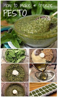 Pesto--How to Make It and Freeze It. I love pesto! How To Make Pesto, Food To Make, Making Pesto, Freezing Pesto, Low Carb Paleo, Pesto Sauce, Canning Recipes, Freezer Meals, Fresh Herbs