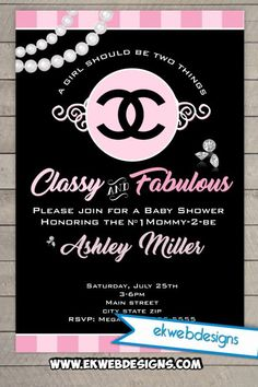 coco chanel baby shower invitation its a girl baby shower