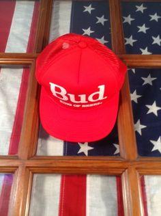 new product 74d62 0ea60 Vintage Budweiser Bud King of Beers Snapback Cap Hat c.1980 s Red White Mesh