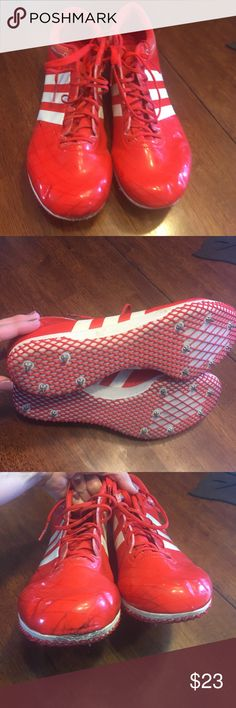 High jump track shoes Adidas high jump track shoes. Red and white. Used 1 season.  Has some scuffs and marks but still great condition . Adidas Shoes Athletic Shoes