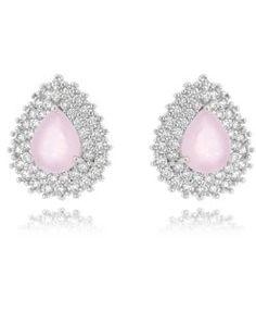 brinco rosa leitosa zirconias semi joias
