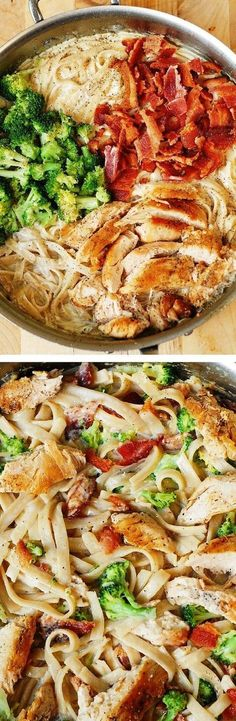 Creamy Broccoli, Chicken Breast, and Bacon Fettuccine Pasta in homemade Alfredo sauce