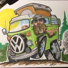 Client art T3 Vw, Volkswagen Bus, Vw Camper, Monster Car, Monster Trucks, Carros Retro, Combi T1, Cool Car Drawings, Busse