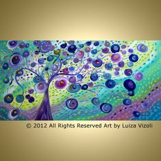 Original Modern Abstract Fantasy Tree Landscape by LUIZAVIZOLI, $399.00