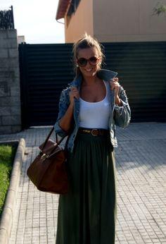 Long Denim Skirts | Long skirt and denim | Outfits