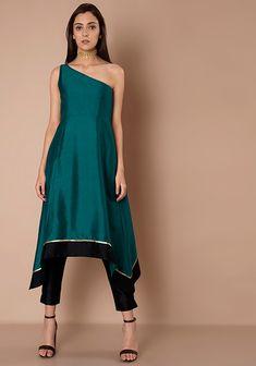 Teal Black One Shoulder Silk Tunic #Fashion #FabAlley #Tunic #WeddingWear #Marriage #OneShoulder