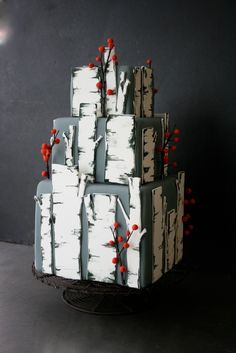 cakes that look like birch trees | Birch tree cake - I want this cake with a little girls in a red hood ...