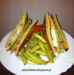 Club sandwich Ντουκάν με στικς κολοκυθιού  http://dukandiaita.blogspot.gr/2016/02/club-sandwich.html