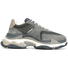 Balenciaga Triple S Sneakers ($850) ❤ liked on Polyvore featuring men's fashion, men's shoes, men's sneakers, grey, mens round toe dress shoes, mens grey sneakers, balenciaga mens sneakers, balenciaga mens shoes and mens grey shoes