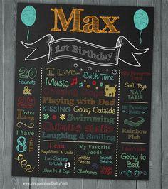 Boy or Girl First Birthday Chalkboard  Chalkboard by ChalkyPrints, $20.00