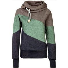 Khaki Color Block Long Sleeve Chic Hooded Sweatshirt (€24) ❤ liked on Polyvore featuring tops, hoodies, khaki, color block top, colorblock top, sweatshirt hoodies, colorblock hoodie and hooded sweatshirt