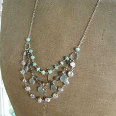 Multi strand Boho Gemstone Necklace-Tiered by thebijoubabe on Etsy