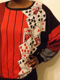 80s poker cards sweater