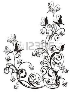 Telaio con farfalla e ornamento floreale vettore Archivio Fotografico
