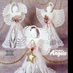 Exquisite Angels, Suzanne McNeill Design Originals Crochet Pattern Booklet 2466 in Crafts, Needlecrafts & Yarn, Crocheting & Knitting, Patterns-Contemporary Crochet Angel Pattern, Vintage Crochet Patterns, Crochet Angels, Crochet Designs, Thread Crochet, Crochet Lace, Free Crochet, Cotton Crochet, Double Crochet