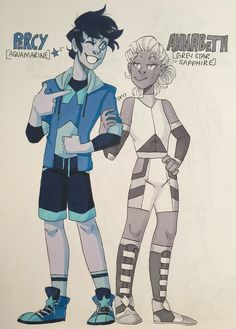 PJO CRYSTAL GEM REDESIGNS. ✨ I was feeling inspired. Percy's new outfit is one of my faves and Annabeth likes it too. Percy and Annabeth (c) Rick Riordan Steven Universe (c...