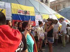 @HsalasteleSUR #España. El tricolor nacional de #Colombia ondea en #Madrid para apoyar a los campesinos colombianos