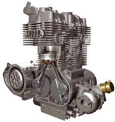 Silnik 2-cylindrowy, rzędowy w układzie poprzecznym Turbo Diesel z dwoma zębatymi wałami korbowymi, sprzężonymi ze sobą. Neander 1400 z 2009 roku. http://www.neander-motors.com/engine.html