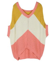 Bats Sleeve V Neck Stripes Pink Sweater