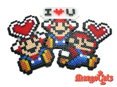 Valentine's day Mario bead sprite by MangoCats on Etsy, $6.50