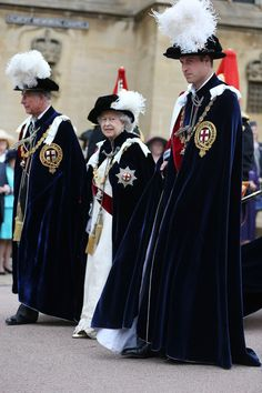 Prince Charles, Prince of Wales, Queen Elizabeth II and Prince William, Duke of Cambridge join members of the royal family and Knights Garter on a procession from the Castle to St Georges Chapel for the annual service in the annual Garter Ceremony at Windsor Castle on 17 June 2013