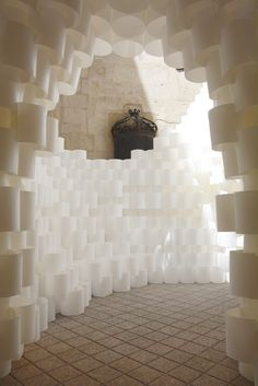 studio builds 'paper cloud' pavilion at festival des architectures vives Cardboard Model, Cardboard Art, Paper Architecture, Architecture Design, Paper Installation, Art Installations, Paper Clouds, Paper Art Design, Natural Stone Wall