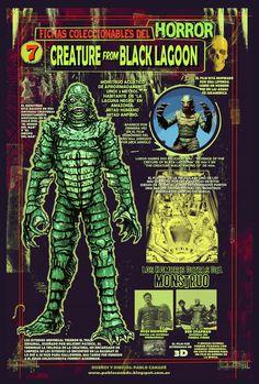 Ficha infográfica homenaje a Creature from Black Lagoon. Dibujos y diseños míos.